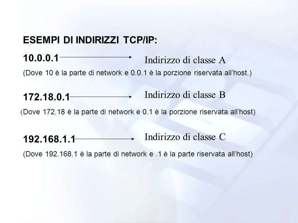 ESEMPI DI INDIRIZZI TCP/IP: 10.0.0.1 Indirizzo di classe A