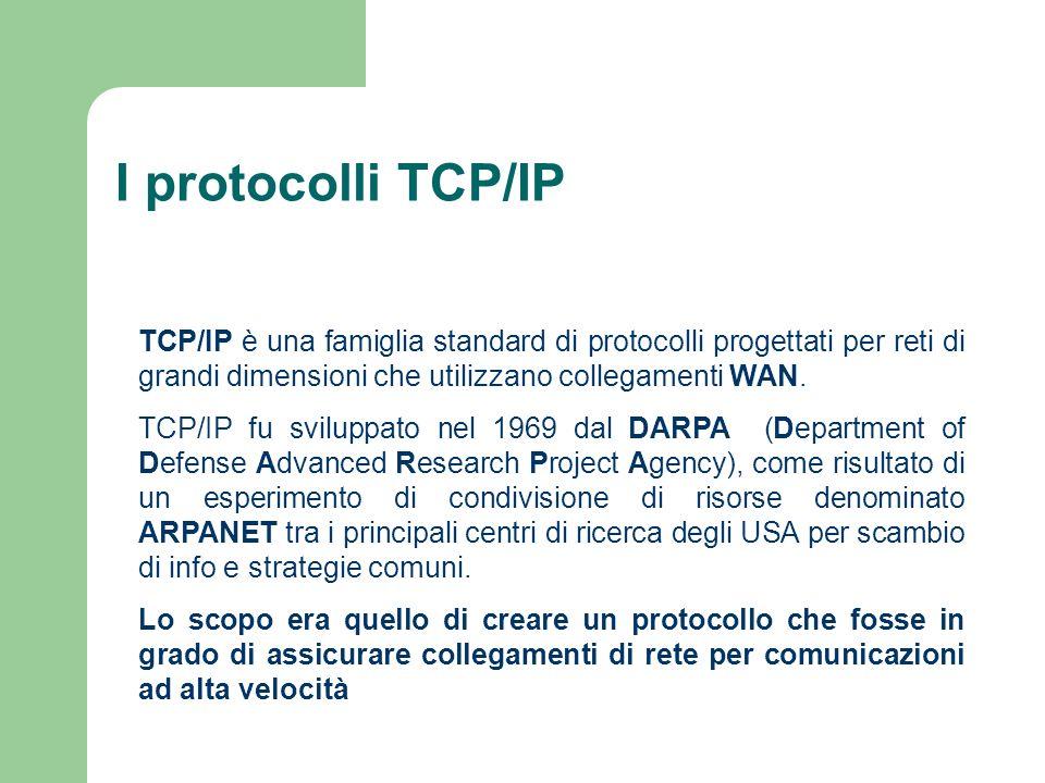 I protocolli TCP/IPTCP/IP è una famiglia standard di protocolli progettati per reti di grandi dimensioni che utilizzano collegamenti WAN.