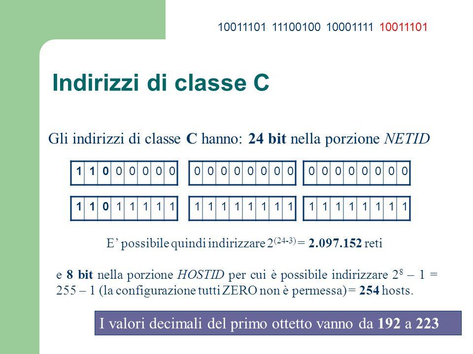 E' possibile quindi indirizzare 2(24-3) = 2.097.152 reti