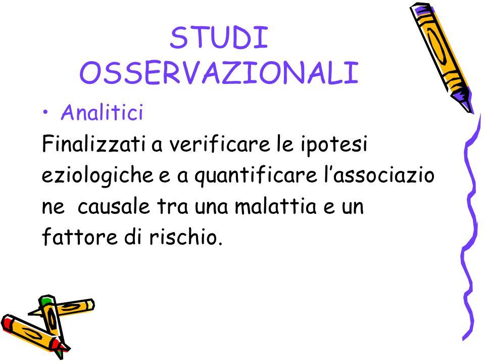 STUDI OSSERVAZIONALI Analitici Finalizzati a verificare le ipotesi