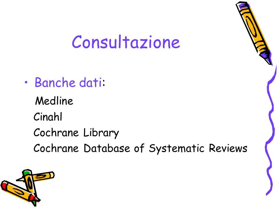 Consultazione Banche dati: Medline Cinahl Cochrane Library