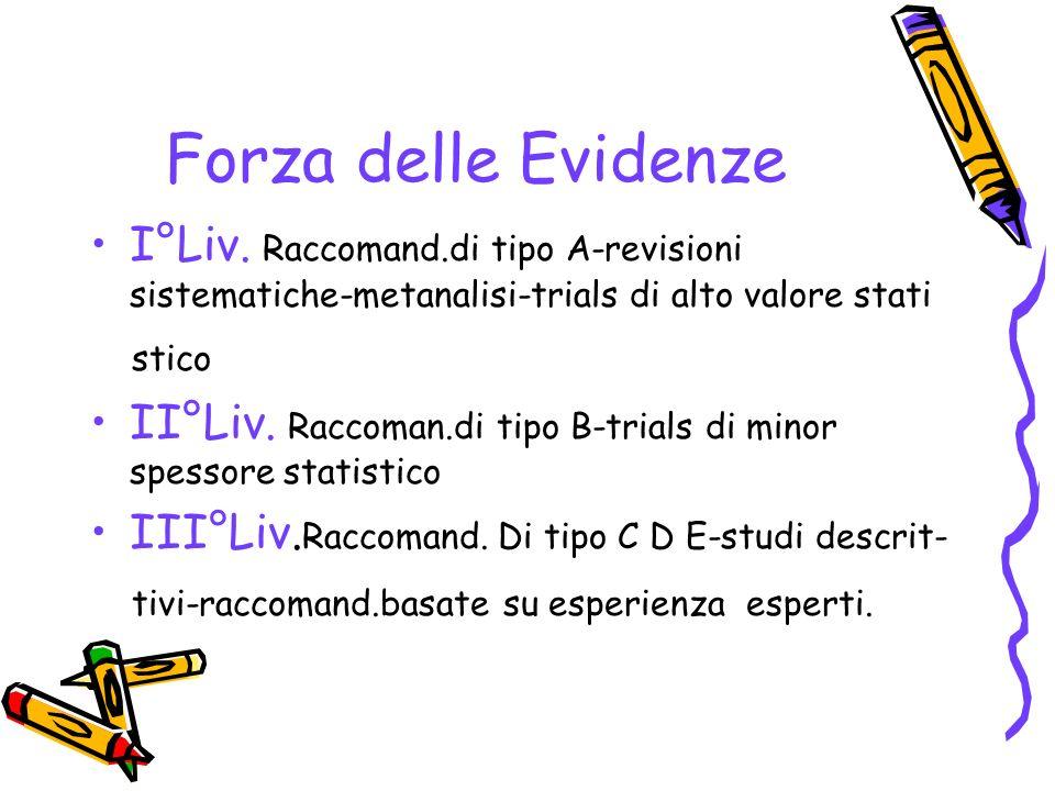 Forza delle Evidenze I°Liv. Raccomand.di tipo A-revisioni sistematiche-metanalisi-trials di alto valore stati.