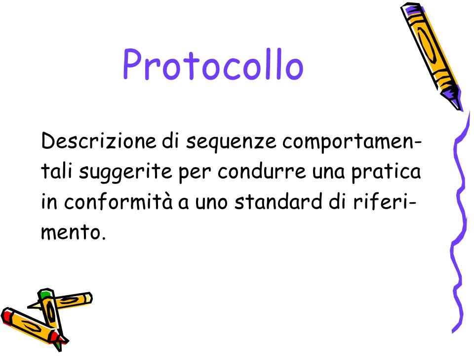 Protocollo Descrizione di sequenze comportamen-