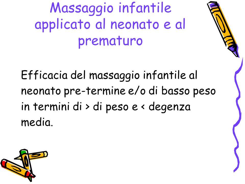 Massaggio infantile applicato al neonato e al prematuro
