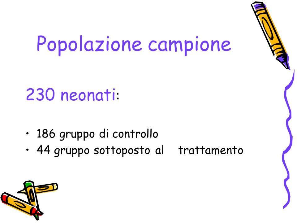 Popolazione campione 230 neonati: 186 gruppo di controllo