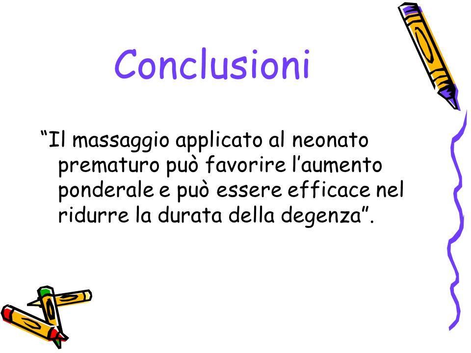 Conclusioni Il massaggio applicato al neonato prematuro può favorire l'aumento ponderale e può essere efficace nel ridurre la durata della degenza .