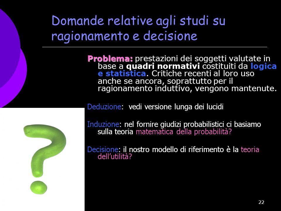 Domande relative agli studi su ragionamento e decisione