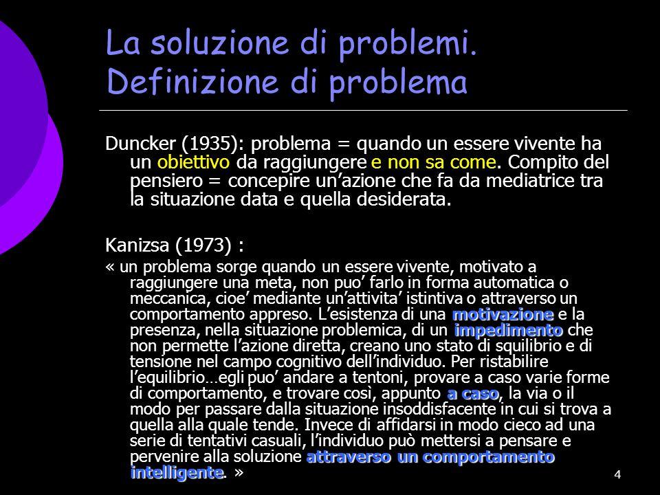 La soluzione di problemi. Definizione di problema