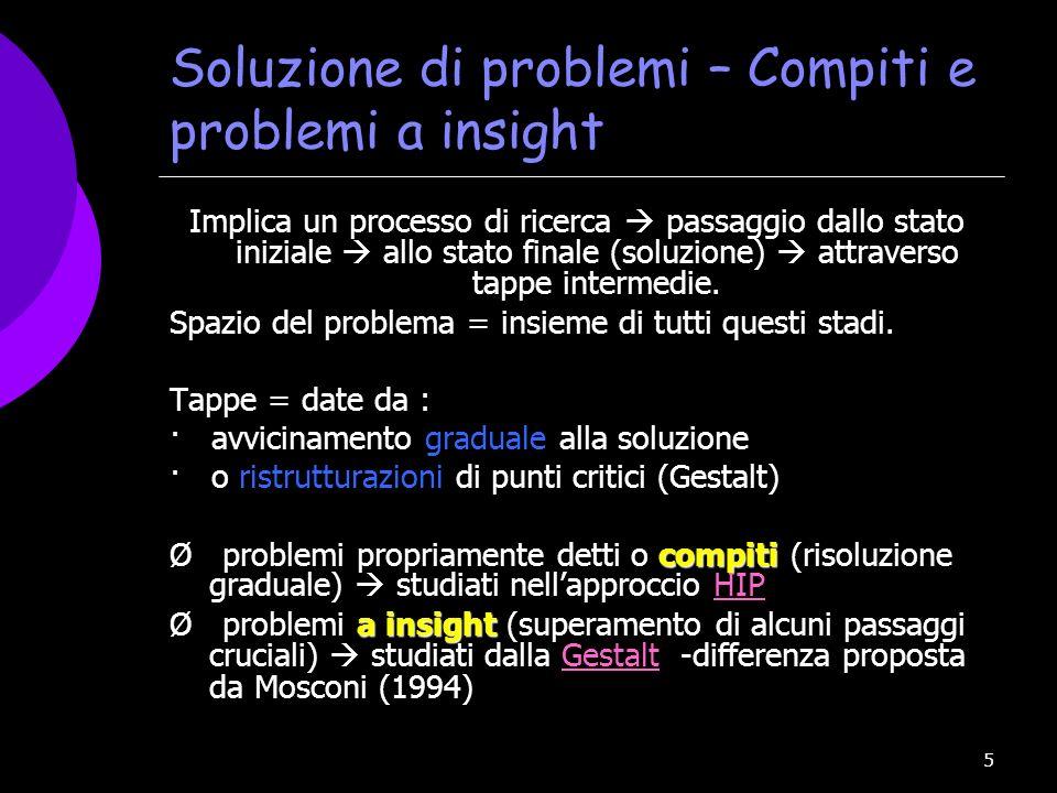 Soluzione di problemi – Compiti e problemi a insight