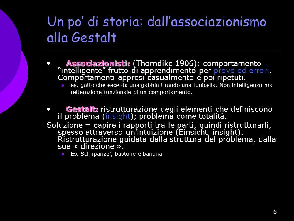 Un po' di storia: dall'associazionismo alla Gestalt
