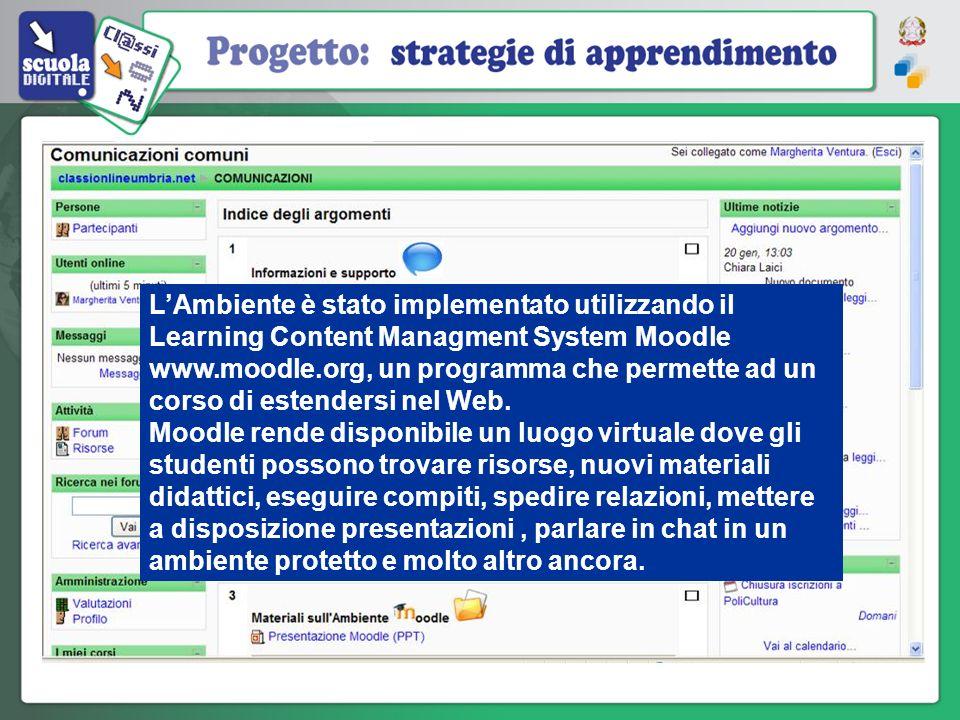 L'Ambiente è stato implementato utilizzando il Learning Content Managment System Moodle www.moodle.org, un programma che permette ad un corso di estendersi nel Web.