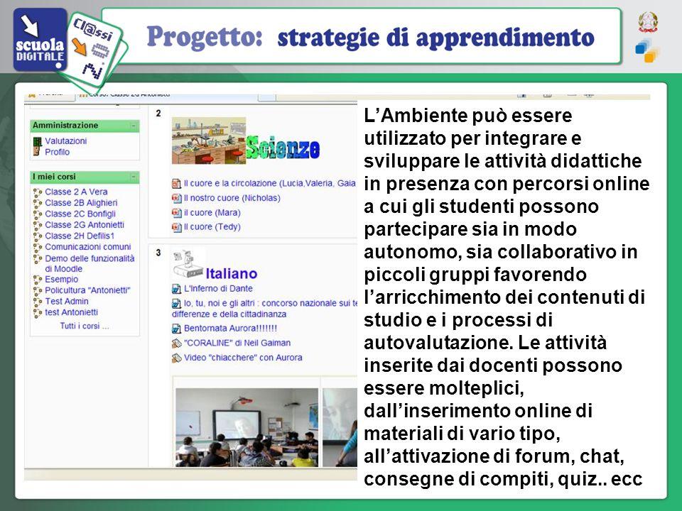 L'Ambiente può essere utilizzato per integrare e sviluppare le attività didattiche in presenza con percorsi online a cui gli studenti possono partecipare sia in modo autonomo, sia collaborativo in piccoli gruppi favorendo l'arricchimento dei contenuti di studio e i processi di autovalutazione.