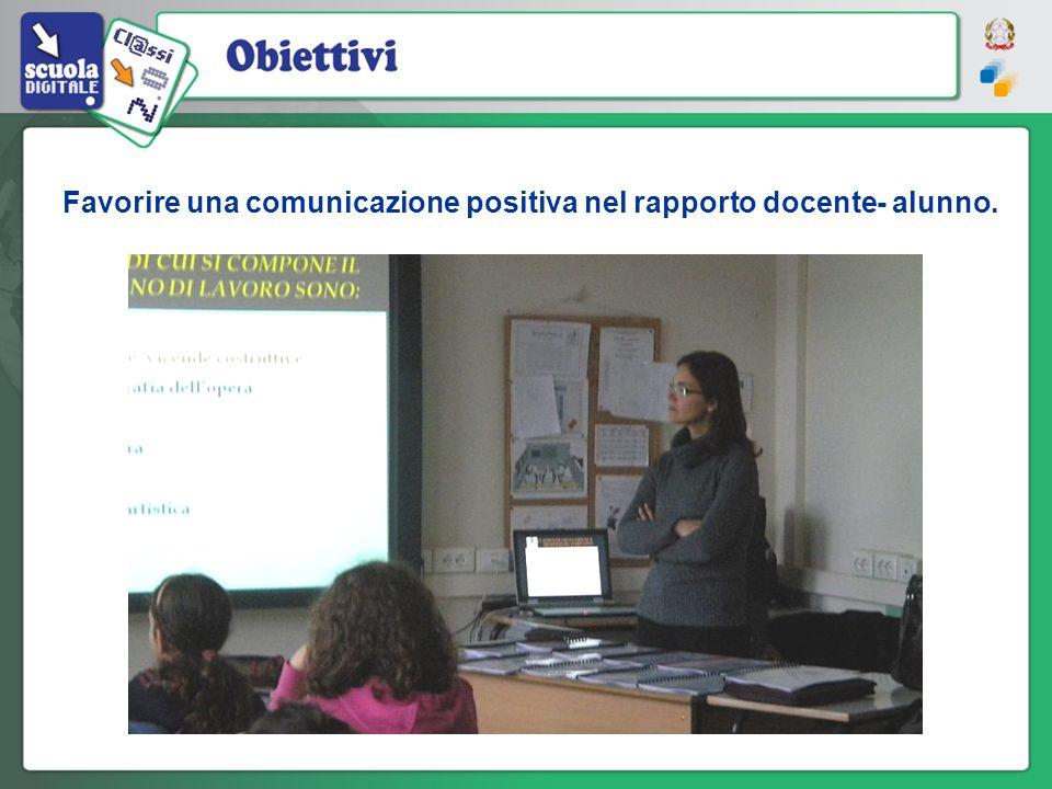 Favorire una comunicazione positiva nel rapporto docente- alunno.