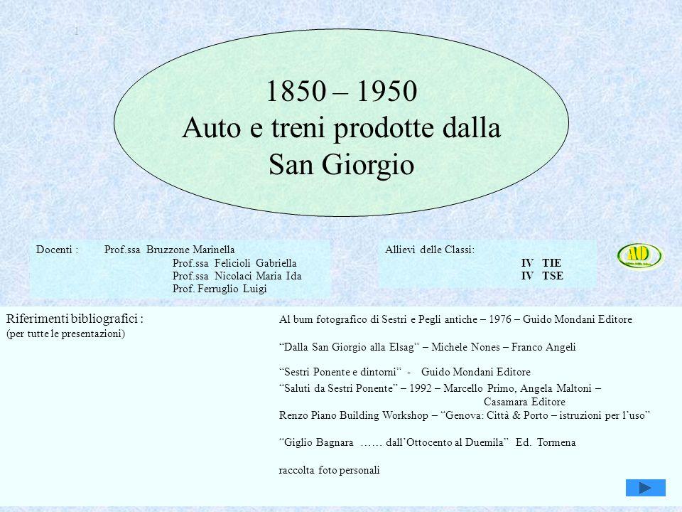 Auto e treni prodotte dalla San Giorgio