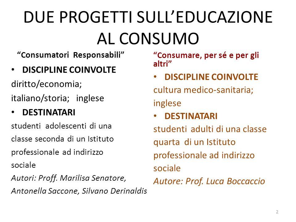 DUE PROGETTI SULL'EDUCAZIONE AL CONSUMO