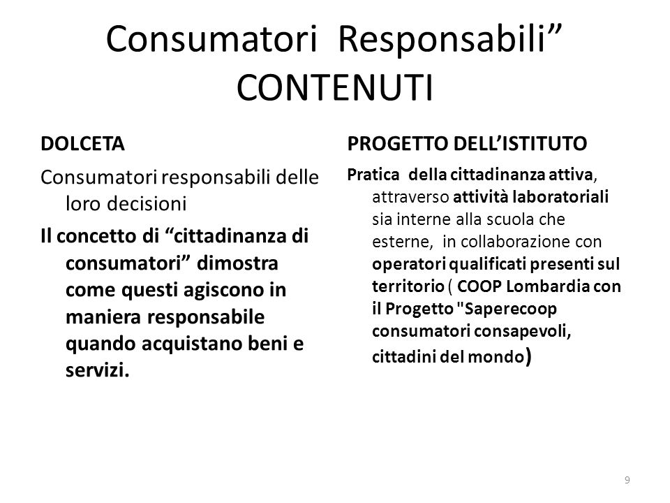 Consumatori Responsabili CONTENUTI