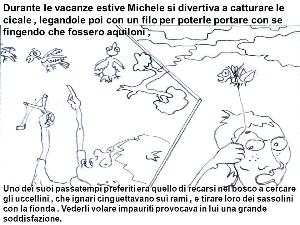 Durante le vacanze estive Michele si divertiva a catturare le cicale , legandole poi con un filo per poterle portare con se fingendo che fossero aquiloni ,