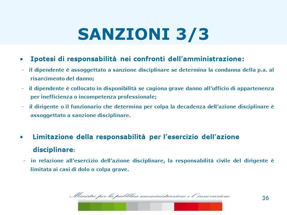 SANZIONI 3/3 Ipotesi di responsabilità nei confronti dell'amministrazione: