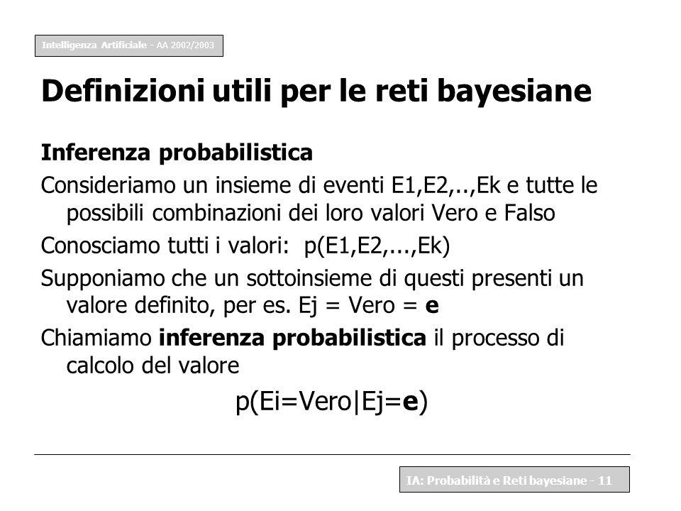 Definizioni utili per le reti bayesiane