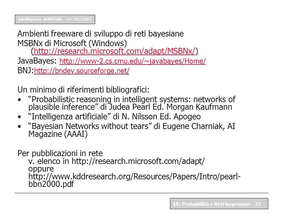 Ambienti freeware di sviluppo di reti bayesiane