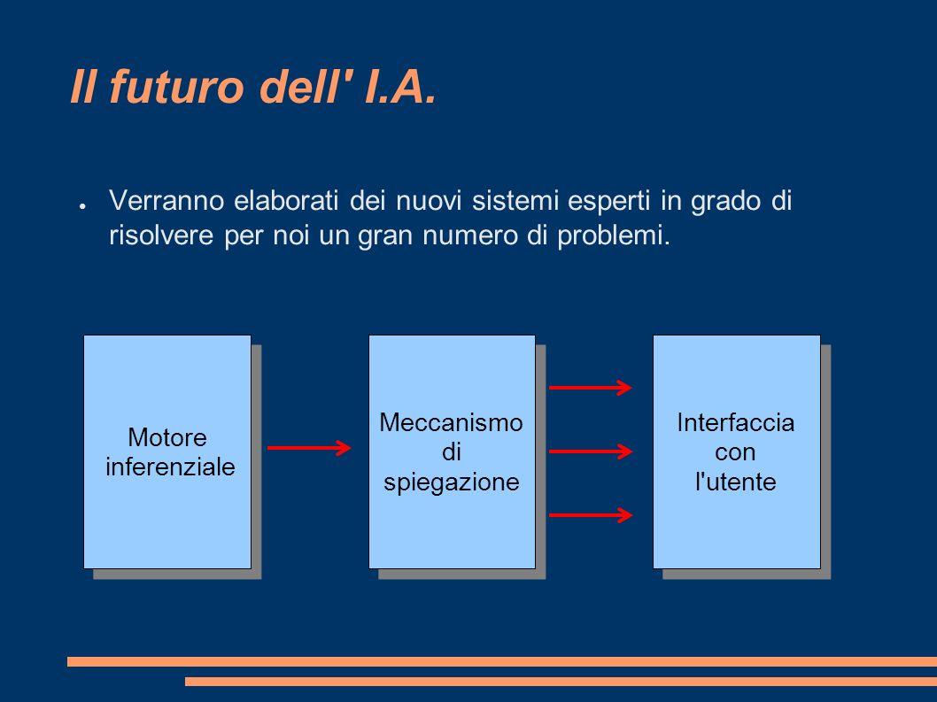 Il futuro dell I.A. Verranno elaborati dei nuovi sistemi esperti in grado di risolvere per noi un gran numero di problemi.