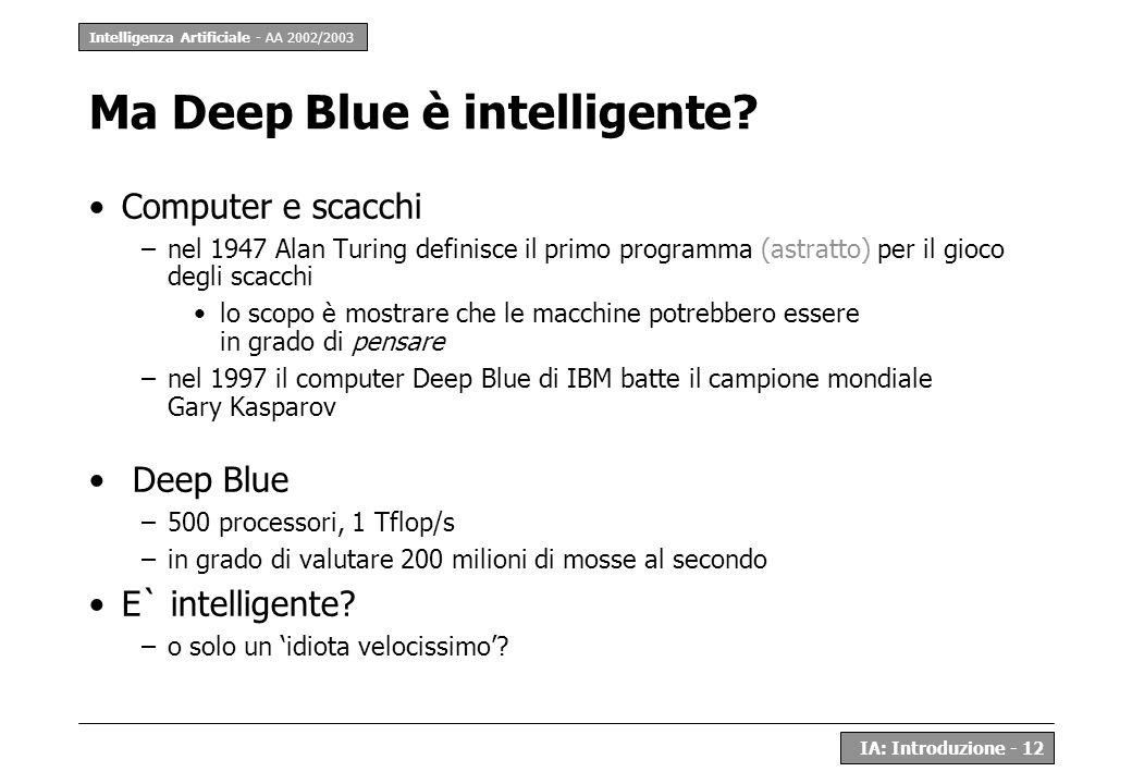 Ma Deep Blue è intelligente