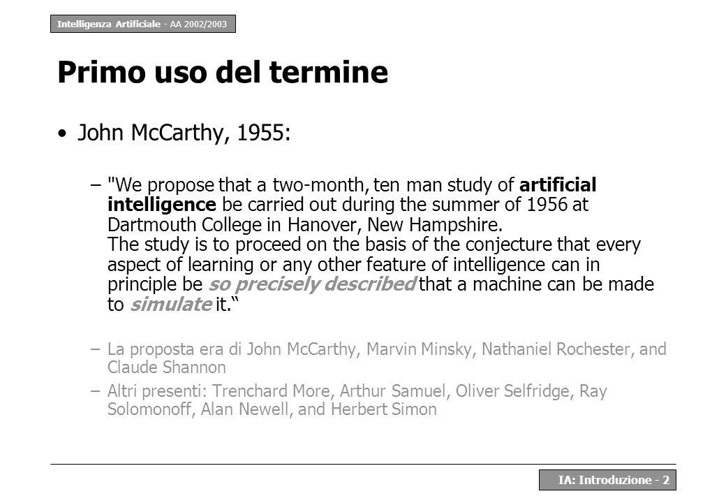 Primo uso del termine John McCarthy, 1955:
