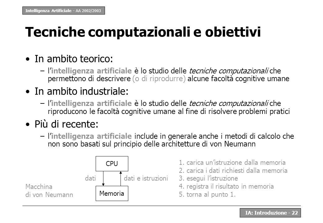 Tecniche computazionali e obiettivi