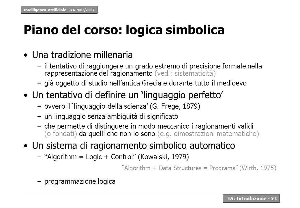 Piano del corso: logica simbolica