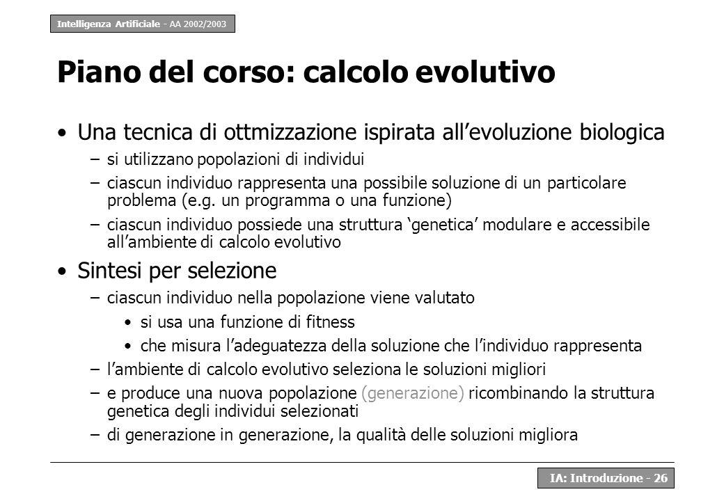 Piano del corso: calcolo evolutivo