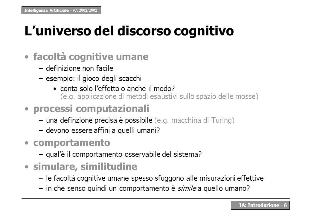 L'universo del discorso cognitivo
