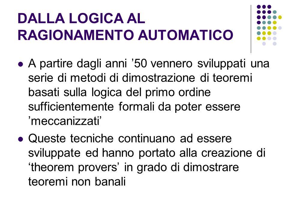 DALLA LOGICA AL RAGIONAMENTO AUTOMATICO