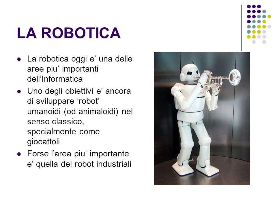 LA ROBOTICA La robotica oggi e' una delle aree piu' importanti dell'Informatica.