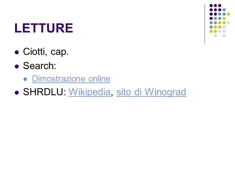 LETTURE Ciotti, cap. Search: SHRDLU: Wikipedia, sito di Winograd