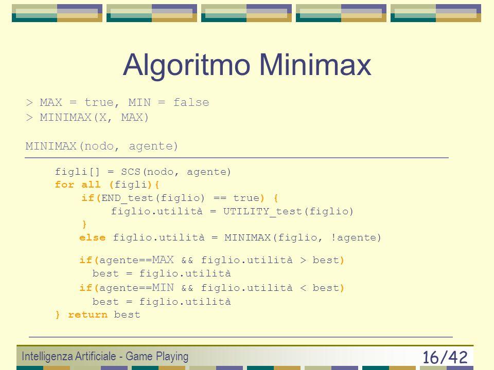 Algoritmo Minimax > MAX = true, MIN = false > MINIMAX(X, MAX)