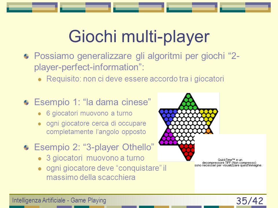 Giochi multi-player Possiamo generalizzare gli algoritmi per giochi 2-player-perfect-information :