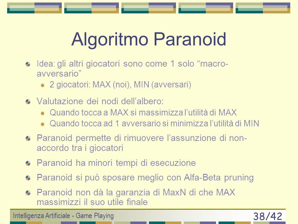 Algoritmo Paranoid Valutazione dei nodi dell'albero: