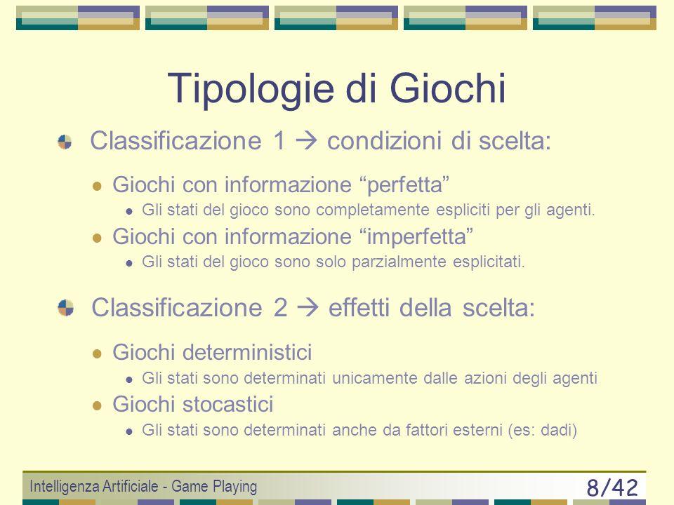 Tipologie di Giochi Classificazione 2  effetti della scelta: