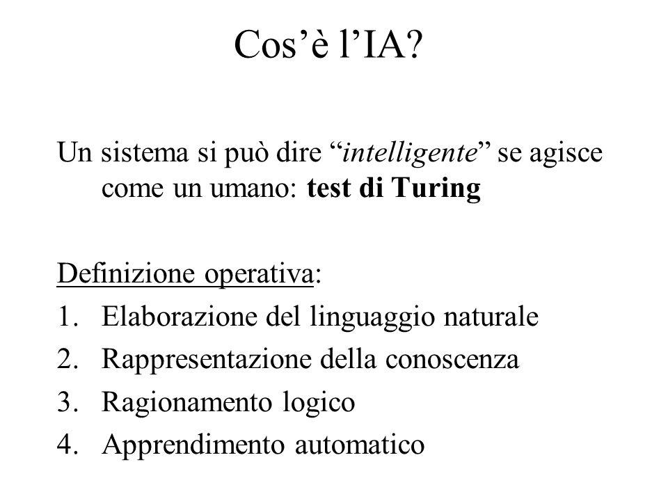 Cos'è l'IA Un sistema si può dire intelligente se agisce come un umano: test di Turing. Definizione operativa: