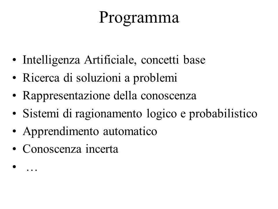Programma Intelligenza Artificiale, concetti base