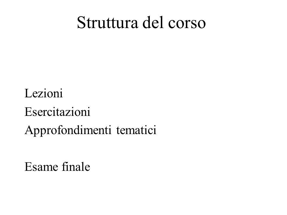 Struttura del corso Lezioni Esercitazioni Approfondimenti tematici