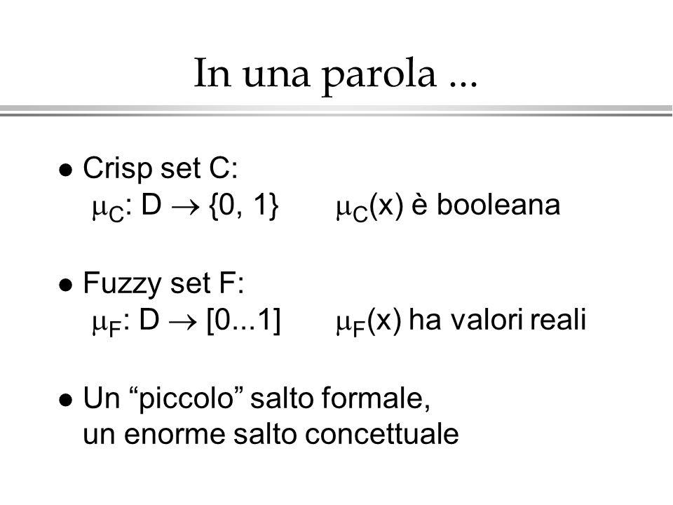 In una parola ... Crisp set C: C: D  {0, 1} C(x) è booleana