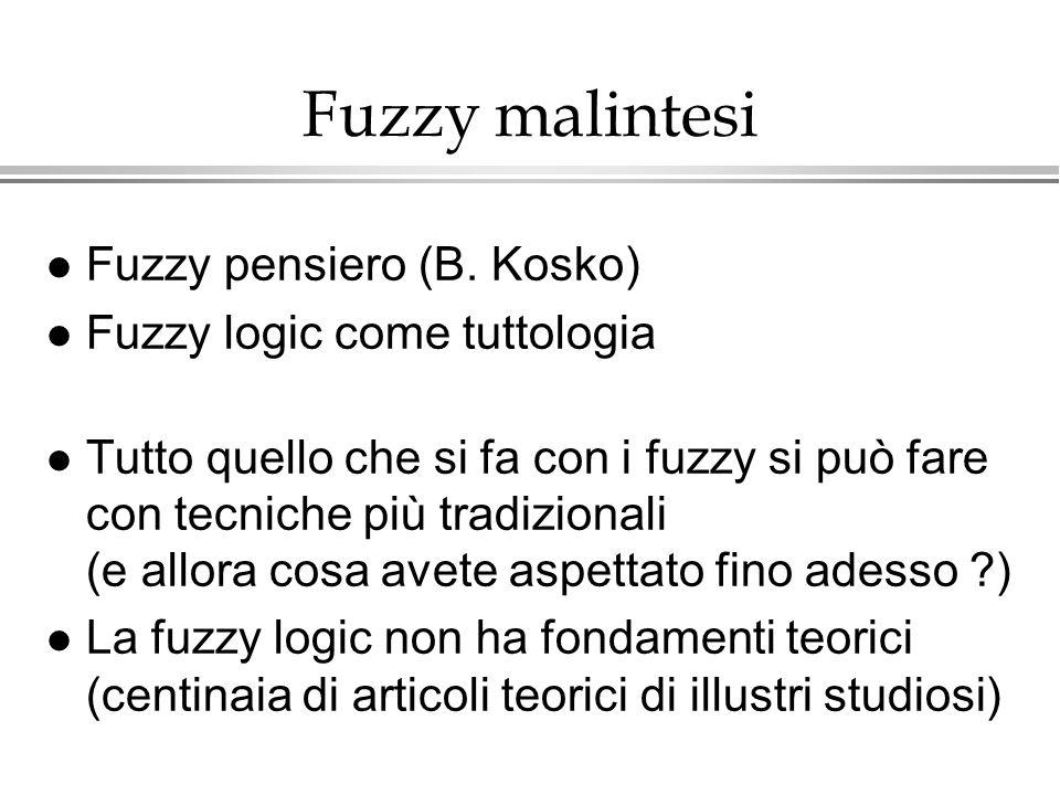 Fuzzy malintesi Fuzzy pensiero (B. Kosko) Fuzzy logic come tuttologia