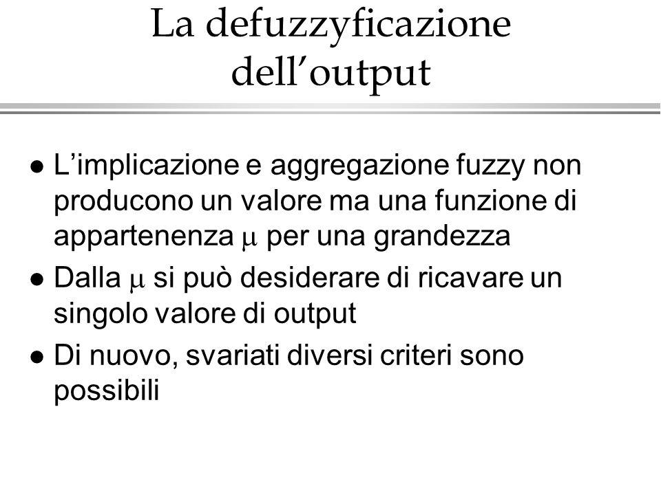 La defuzzyficazione dell'output