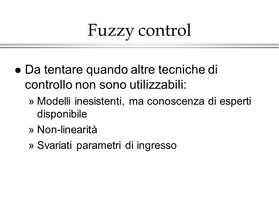 Fuzzy controlDa tentare quando altre tecniche di controllo non sono utilizzabili: Modelli inesistenti, ma conoscenza di esperti disponibile.