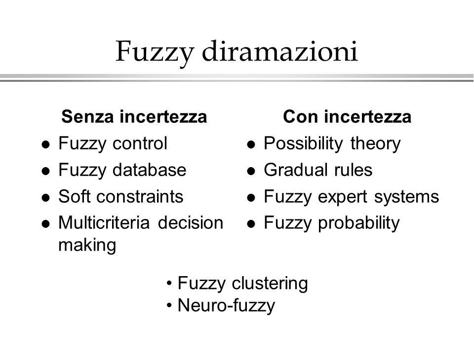 Fuzzy diramazioni Senza incertezza Fuzzy control Fuzzy database