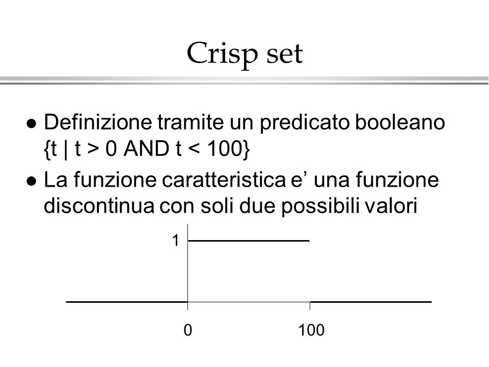 Crisp setDefinizione tramite un predicato booleano {t | t > 0 AND t < 100}