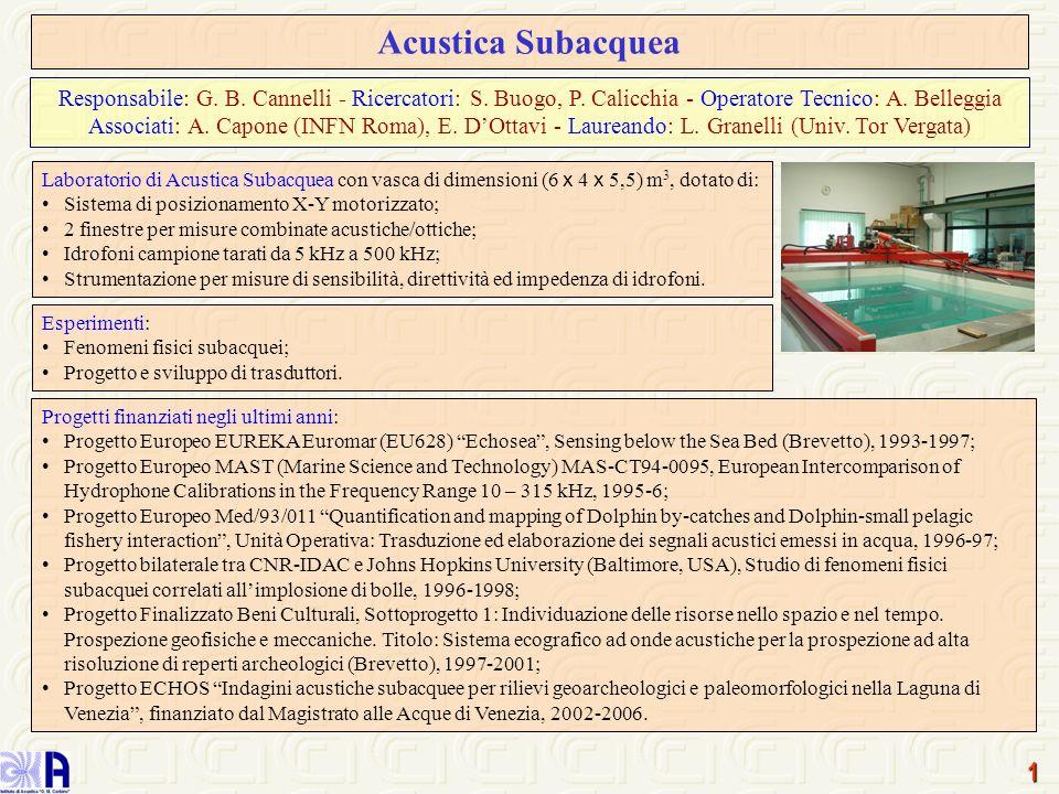 Acustica Subacquea Responsabile: G. B. Cannelli - Ricercatori: S. Buogo, P. Calicchia - Operatore Tecnico: A. Belleggia.