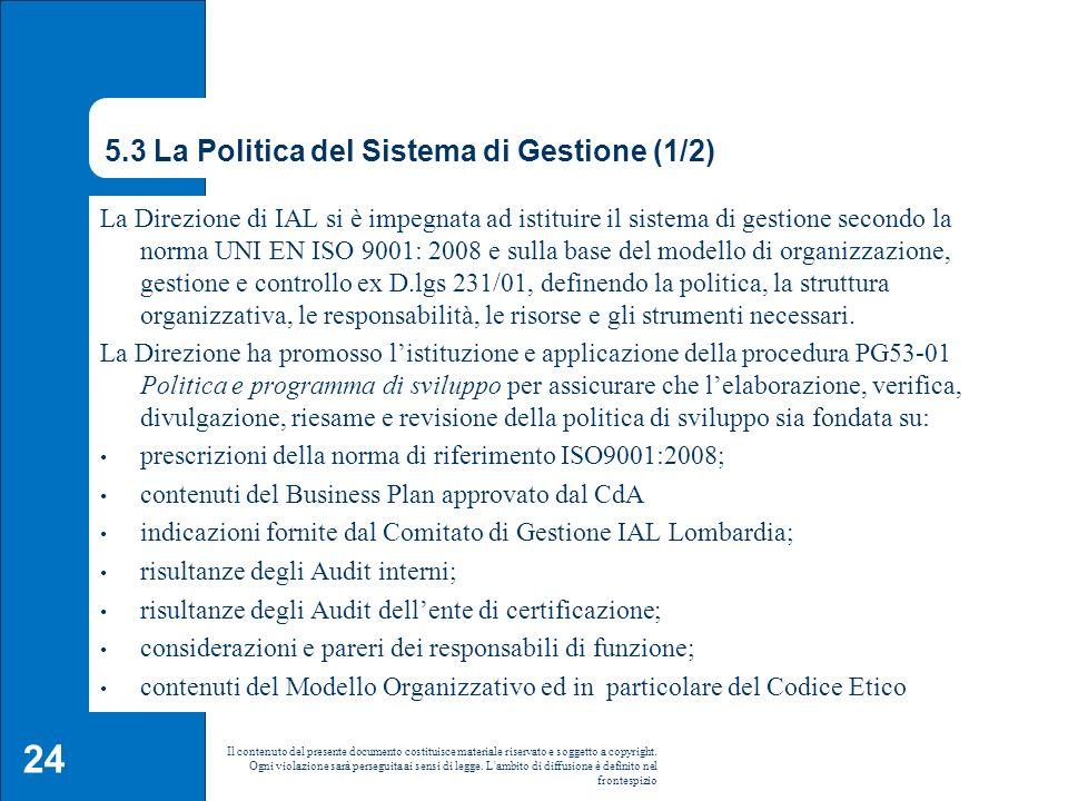 5.3 La Politica del Sistema di Gestione (1/2)