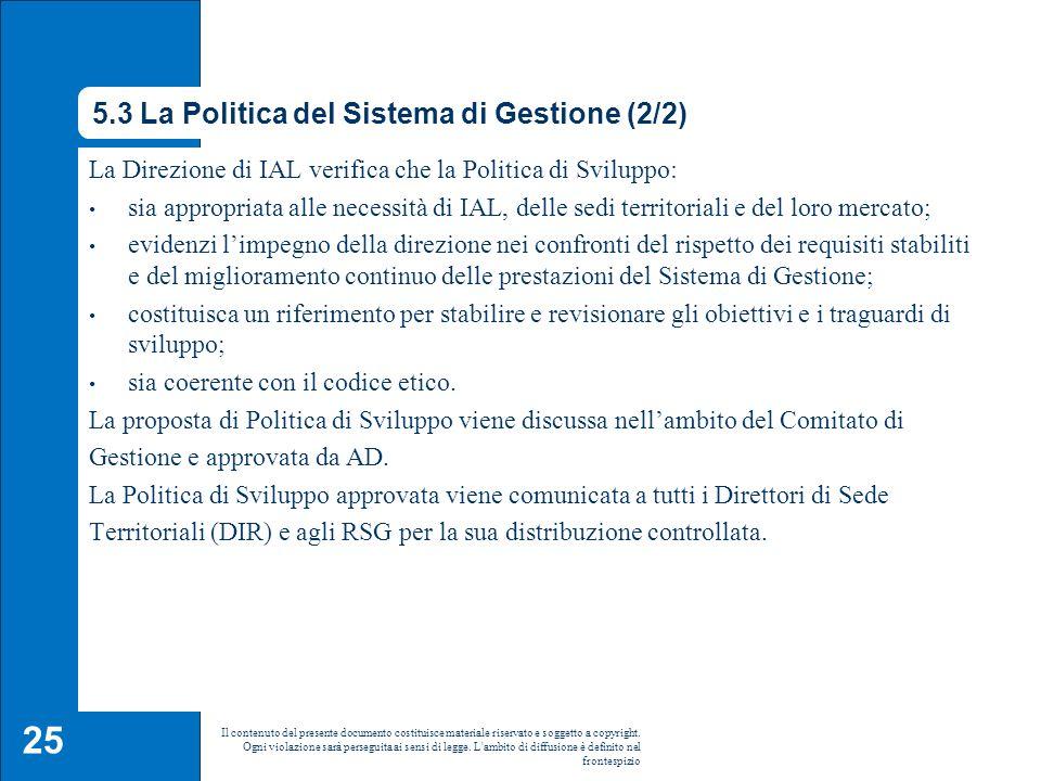 5.3 La Politica del Sistema di Gestione (2/2)